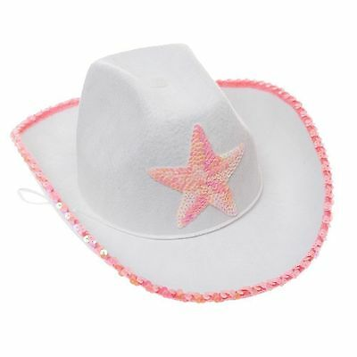 Novelty White Felt Cowgirl Hat with Pink Star Child Hat - Cowgirl With Hat