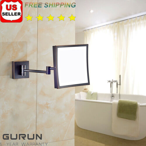 Wall Mount 3X Magnification Lighted Makeup Mirrors Square Ha