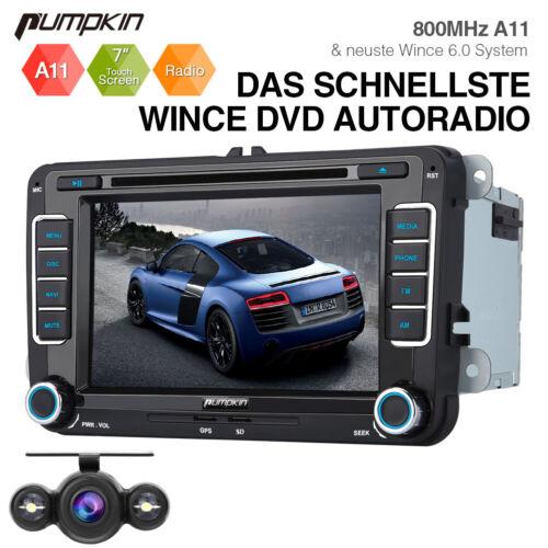 Pumpkin Autoradio DVD GPS Navigationsgeräte BT SD Für VW Golf Polo Passat+Kamera