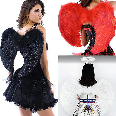 Christmas Large Angel Wings Fancy Dress Cosplay Costume White/Black/Pink/Red