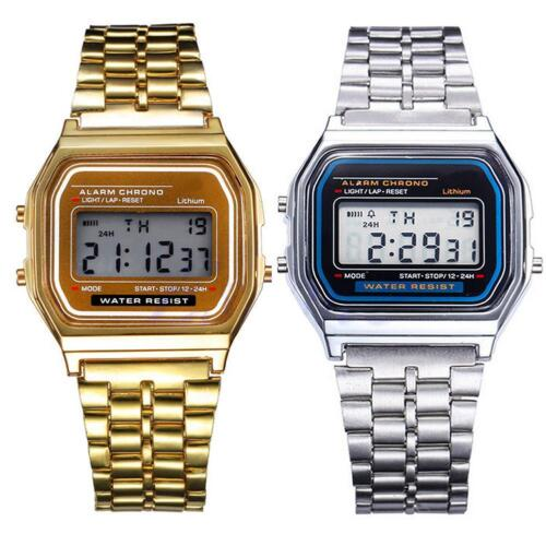Männer Frauen Antike Fancy Edelstahl LCD-Digital-Sport-Stoppuhr Armbanduhr PW