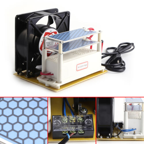 Ozone Generator 110/220V 10g/h Ceramic Plate Air Purifier Sterilizer Fan SSP