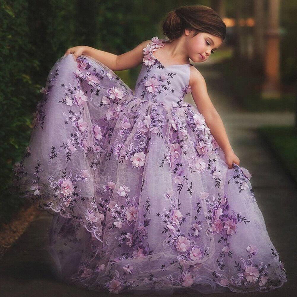 Children Girls Elegant Tulle Ball Gown Party Wedding Bridesmaid Dress ZG9