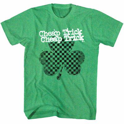 Clover Green T-shirt (Cheap Trick Green Clover Shamrock Men's T Shirt Lucky Rock Band Album Tour Merch)