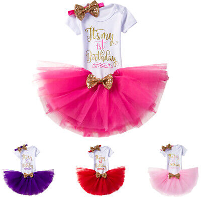 Baby Girl It's My 1st Birthday Outfits Romper Skirt Party Dress Photo Costume