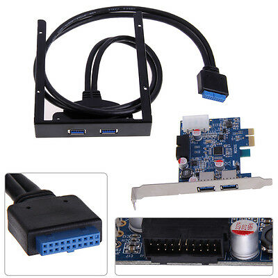 "PCI Express 2 Port USB 3.0 PCI-E Card Adapter + 3.5"" Expansion Bay Front Panel"