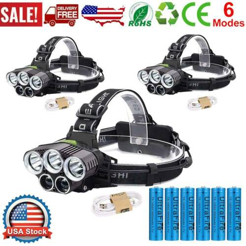 990000LM LED Headlamp Headlight USB Rechargeable Torch Lamp + Battery + Charger