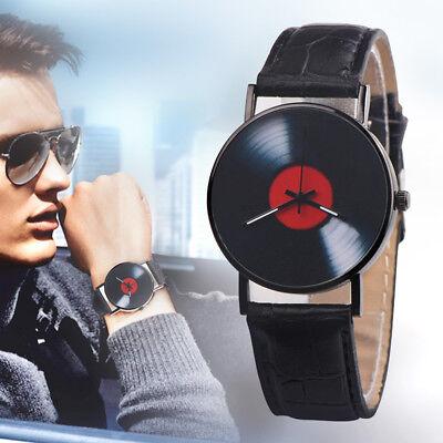 Retro Vinyl Record Dial Faux Leather Men Women Analog Quartz Wrist Watch