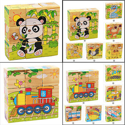 Baby Cute 6 Sides Puzzle Blocks Colorful Educational Wooden Kids Toys Xmas Gifts