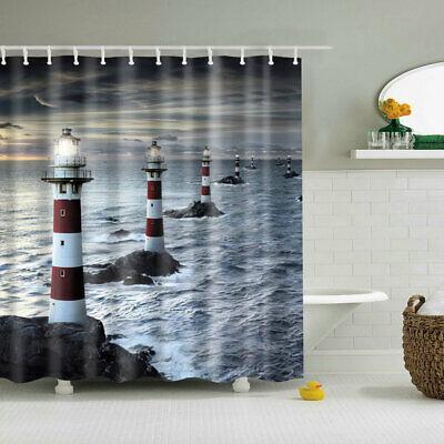 Shower Curtain Decor Set Nautical Lighthouse Reef Waterscape Print Bath Curtains (Nautical Shower Decorations)