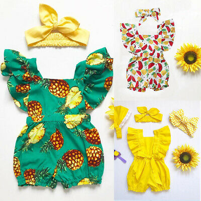 US Newborn Infant Baby Kid Girl Summer Bodysuit Romper Jumpsuit Sunsuit Clothes