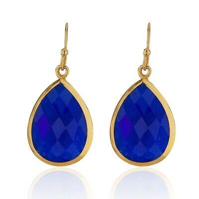 18K Gold-Plated Pear Shape Lapis Lazuli Gemstone Minimalist Dangle Earrings ()