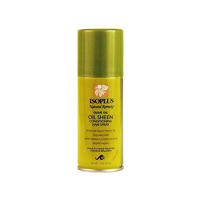 - Isoplus Natural Remedy Olive Oil Sheen Conditioning Hair Spray Scalp Soothes 2oz