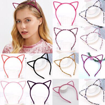 Damen Katzenohren Ohr Haarreif Haarband Kopfband Leopard Fasching Kostüm - Weiße Katzenohren Kostüm