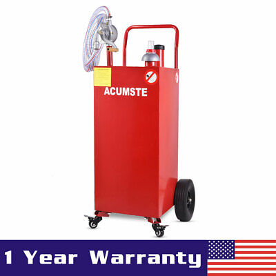 35 Gallon Gas Fuel Diesel Caddy Transfer Tank Container W Rotary Pump Wheel Red