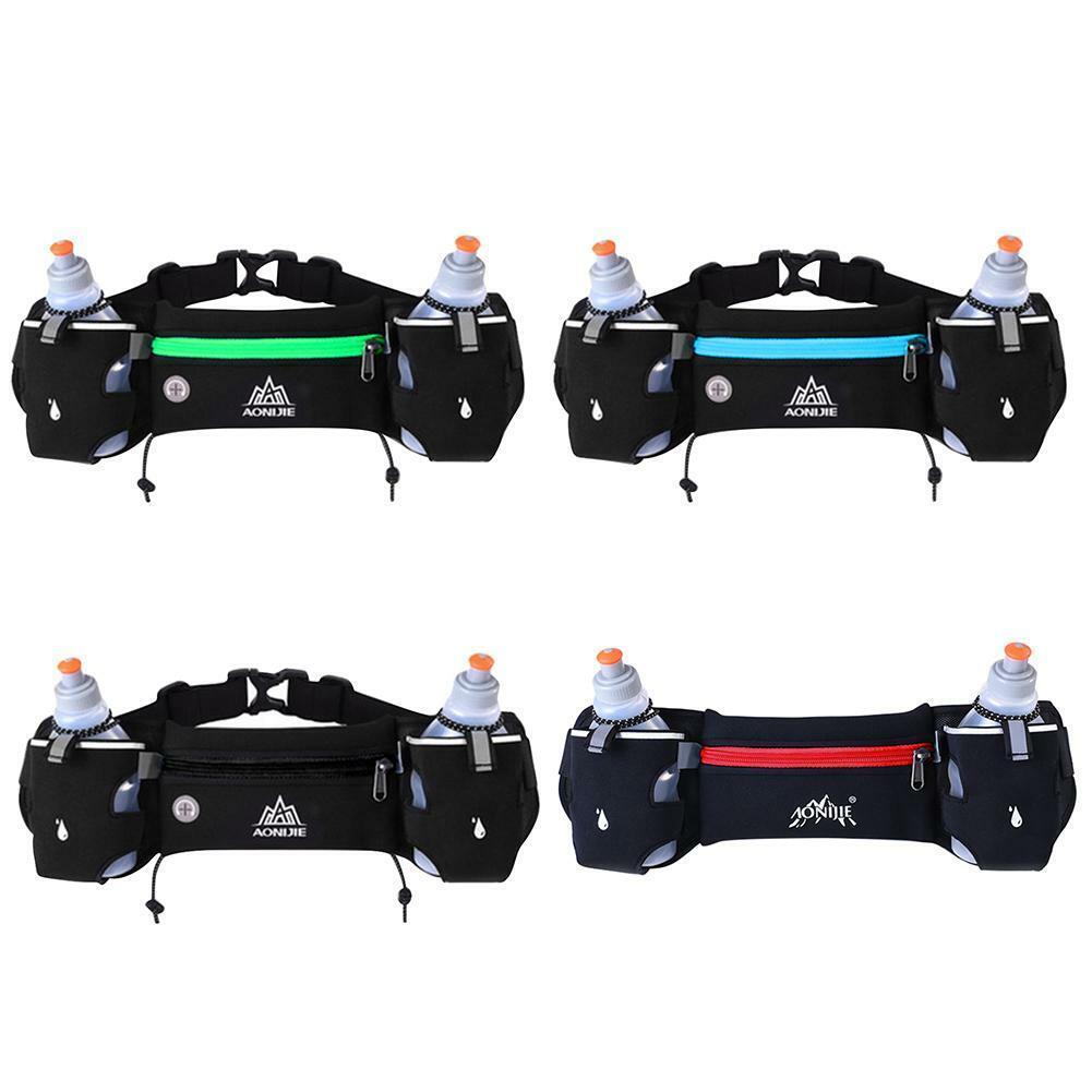 Sports Running Hydration Belt Waist Bag Fanny Pack with 2 Wa