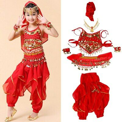 Girls Belly Dance Costumes Two-Piece Top & Long Pants For Kids Children 4 Sizes