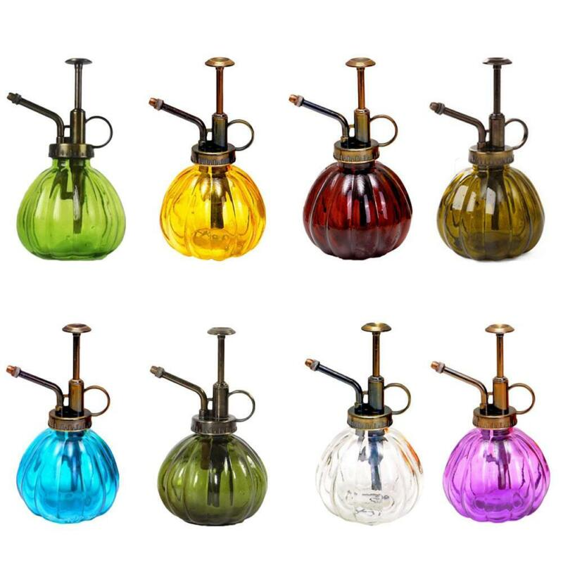 Glass Watering Can Mister Bottle with Top Pump Garden Spray