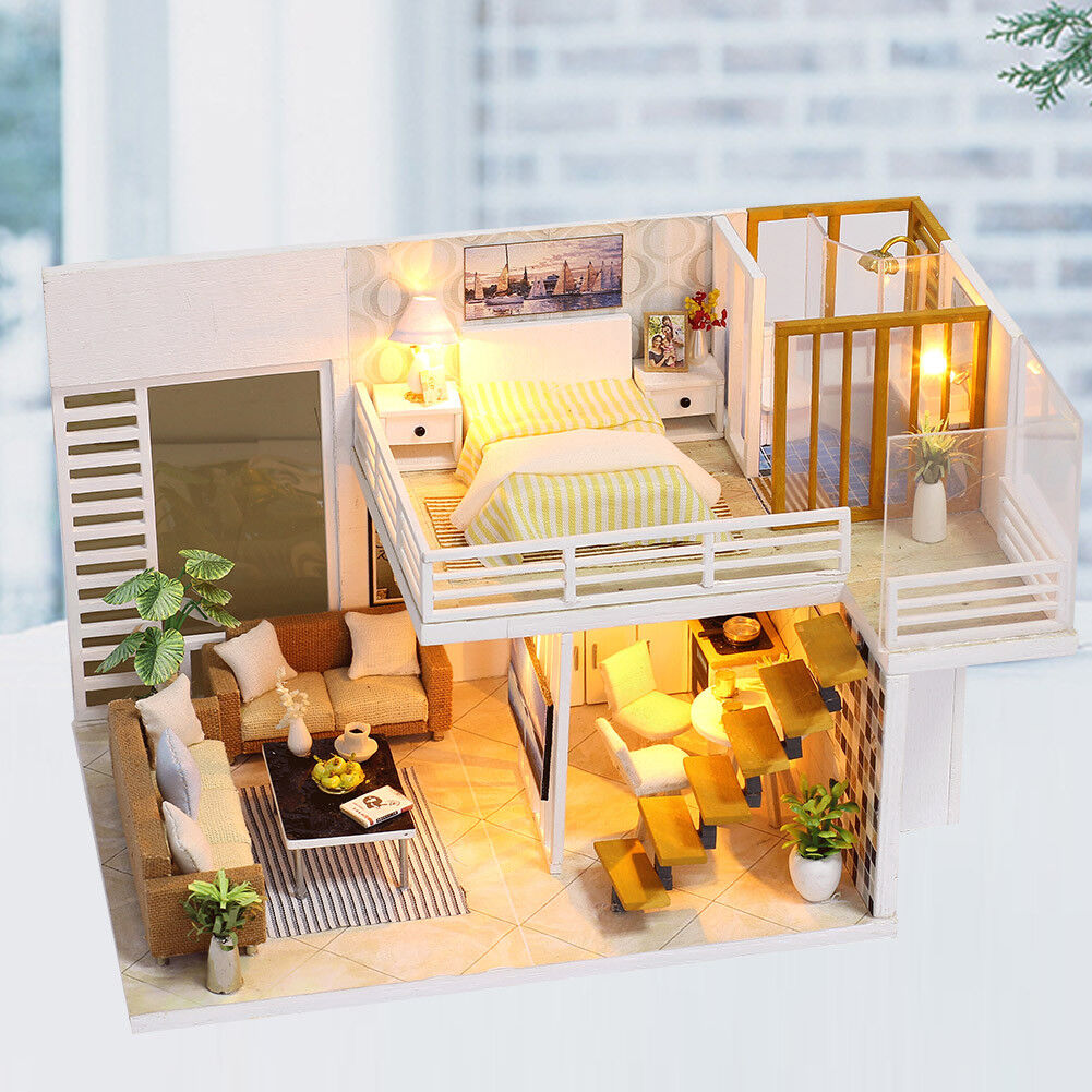 Dollhouse Miniature Furniture DIY Wood Toy Doll House Cottage+LED Christmas Gift