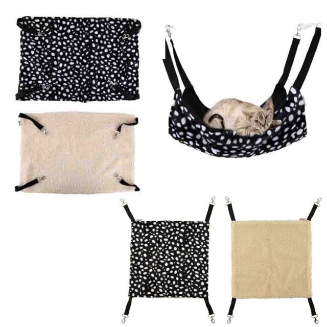 Pet Cat Ferret Polka Dot Hanging Bed Hammock Warm Fleece Soft Basket Cradle