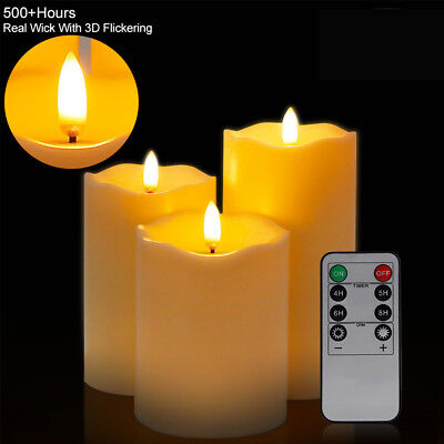 DHL 3x LED Kerzen mit Fernbedienung Timer flammenlose Echtwachskerzen Teelichter