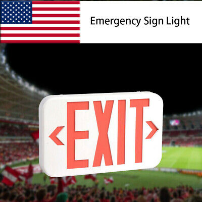 Abs Red Led Exit Sign Ul-listed Emergency Light - Dual Led Lamp Fire Resistance