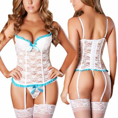 Women Exotic Floral Lace Camisole Sleepwear Sexy Corset Garter Belt Lingerie Set