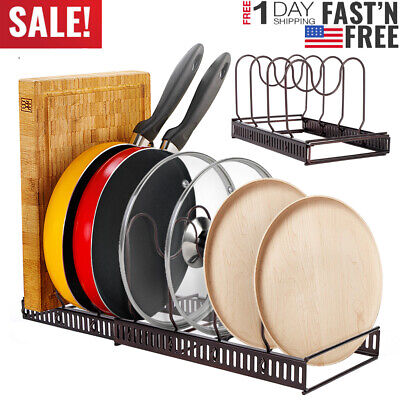 Expandable 7 Layer Kitchen Cabinet Pan Rack Cookware Organizer Pot Lid Holder US