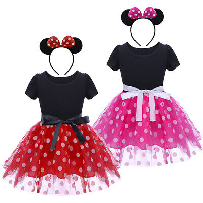 Kinder Mädchen Minnie Maus Kostüm Kleid Tütü Partykleid Ohr Stirnband Fasching