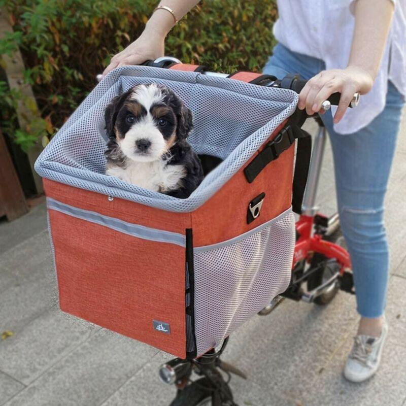 Pet Bike Basket Bag with Reflective Stripe Multipurpose Pet Carrier