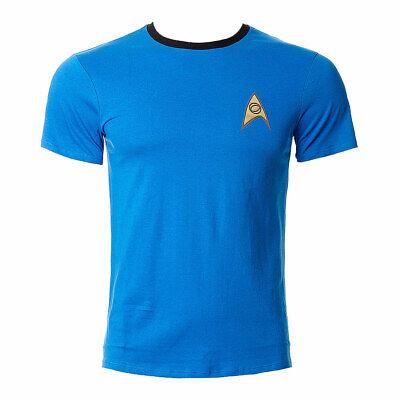 Star Trek Uniform T Shirt Retro Top Tshirt Enterprise Spock Blau Kostüm Fasching