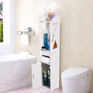 Waterproof Bathroom Tall Cabinet White Wood Storage Unit Shelf Cupboard Standing