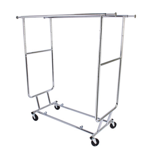 double pole adjustable portable clothes display hanger