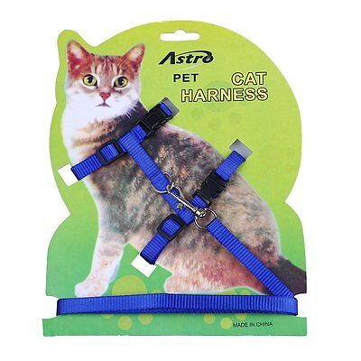Pet Cat Lead Leash Halter Harness Kitten Nylon Strap Belt Safety Rope Adjust New