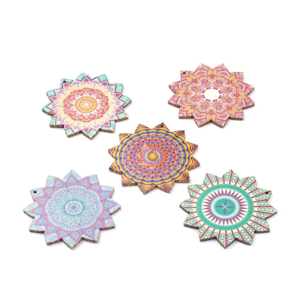 10pcs Kaleidoscope Flower Wood Big Pendants Flat Round Smooth Dangle Charms 60mm