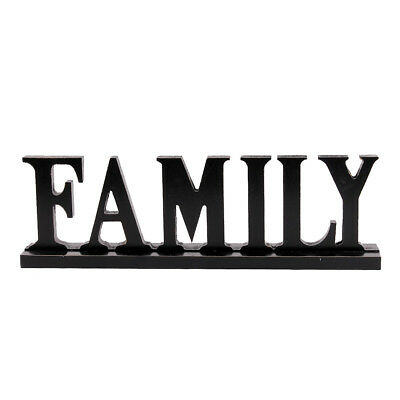Family Word Sign, Wood Block Family Sign Rustic Standing Cutout Letter (Word Blocks)