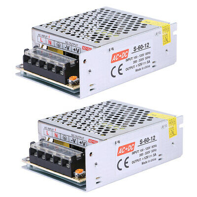 2 Ac 110v 220v To Dc 12v 5a 60w Volt Transformer Switch Power Supply Converter