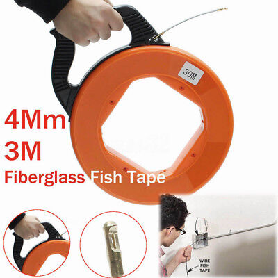 30m Fiberglass Fish Tape Reel Puller Conduit Pulling Wire Cable Fishing Tool