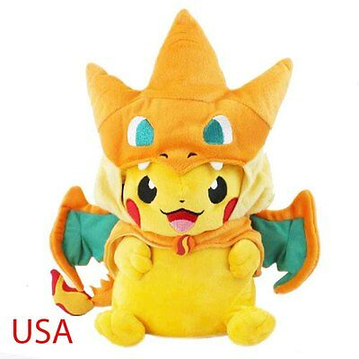 "9"" Pokemon Mega Pikachu With Charizard Hat Pocket Monster Plush Toy Stuffed Doll"