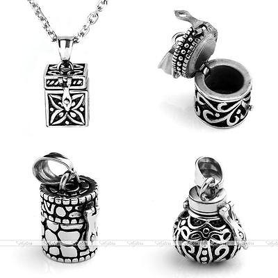Retro Steel Urn Ash Holder Mini Keepsake Hair Nail Locket Pendant - Mini Locket Necklace