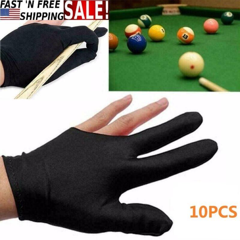 US 10pcs New 3Fingers Billiard Cue Pool Gloves Snooker Left Hand Nylon Accessory