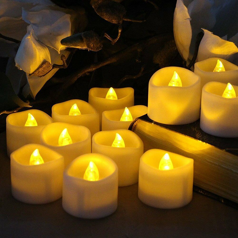 12PCS Flameless Votive Candles Battery Operated Flickering L