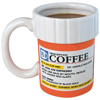 Prescription Mug Pill Bottle Coffee Cup Pharmacy 12 oz. Rx - Big Mouth Toys