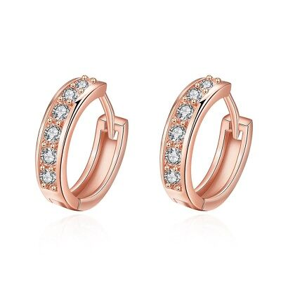 Bauble Pave Set Hoop Earrings Rose Gold with Crystals