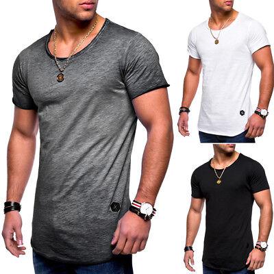 Herren Oversize T-Shirt Oval Longshirt Clubwear Longtee Longline NEU