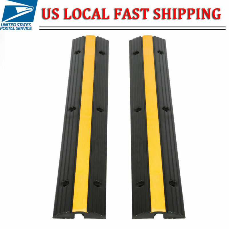 2Pcs Heavy Duty Speed Bump Cable Rubber Vehicle Wire Cable Cover Ramp Protector
