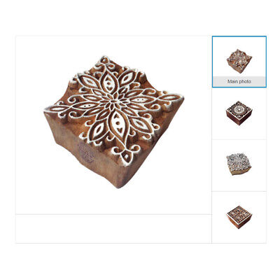 - Hand Carved Wooden Printing Blocks Indian Textile Fabric Square Stamps