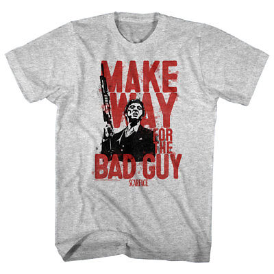 (Scarface Men's T-shirt Tony Montana Gun Make Way for the Bad Guy Pacino Gangster)
