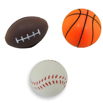 Stress Relief Squeezable Foam Sport Balls Package of Six