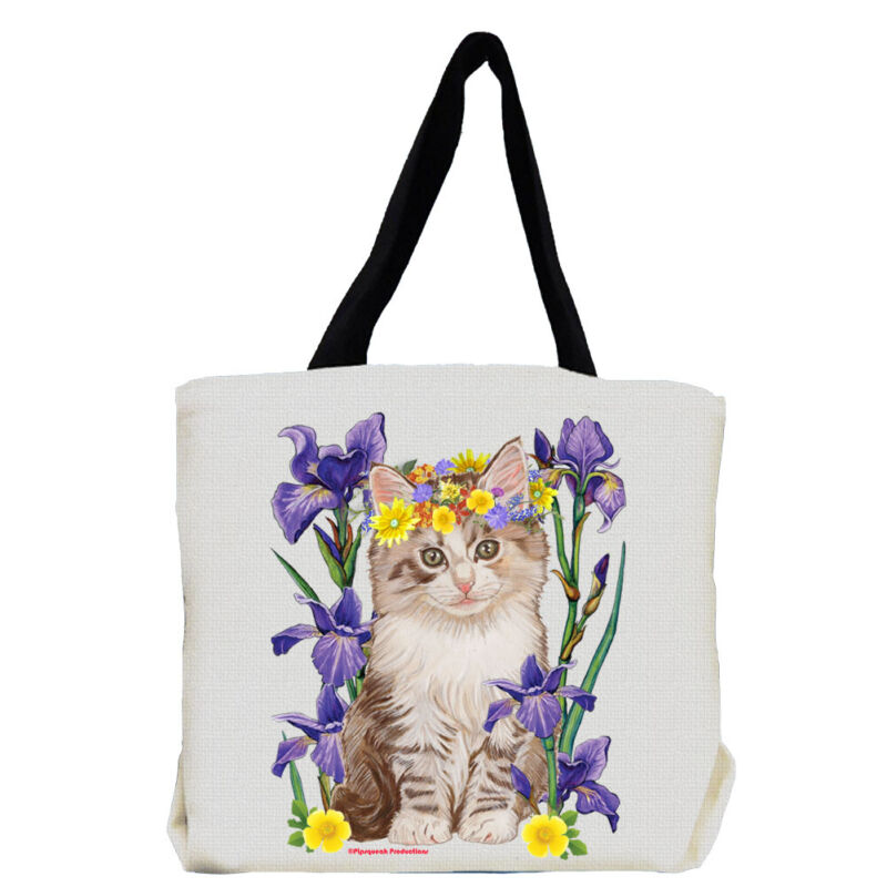 Tabby Cat with Iris Flowers Tote Bag